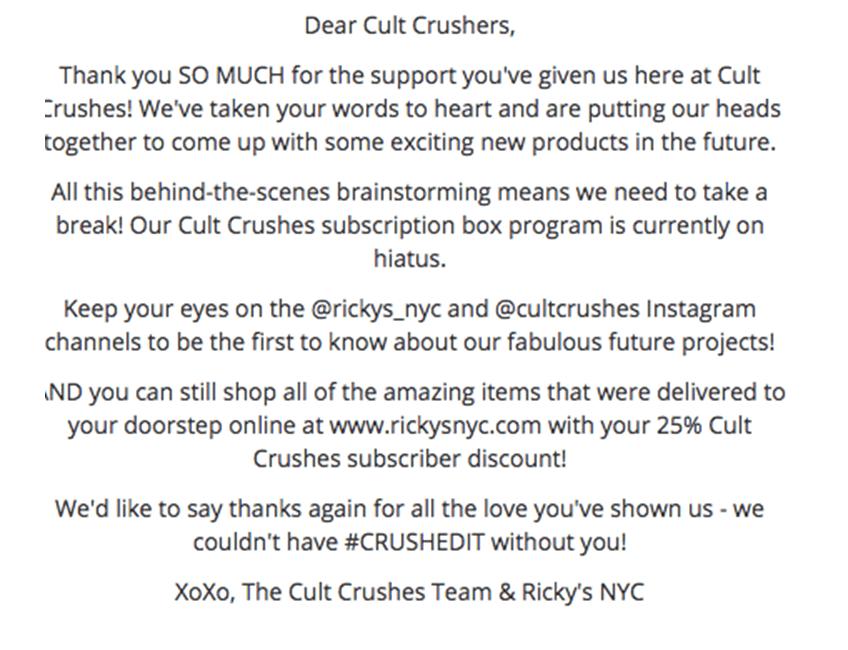 dear cult crushers message